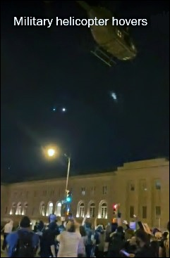Military Helicopter Hovers Low Over Protesters in Washington D.C. on Monday, June 1, 2020  (Daniella Cheslow via WAMU)
