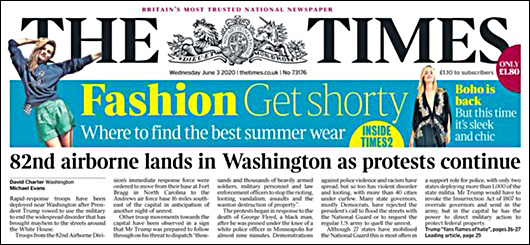 The Times of the U.K. Runs a Bold Headline on Its Front Page