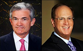Fed Chair Jerome Powell (left); BlackRock CEO Larry Fink (right)