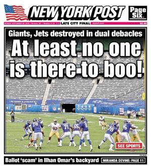 New York Post Cover, Monday, September 28, 2020