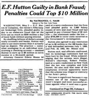 E.F. Hutton Story on Front Page of New York Times, May 3, 1985