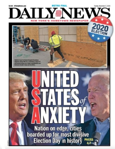Front Cover of New York Daily News on Tuesday, November 3, 2020
