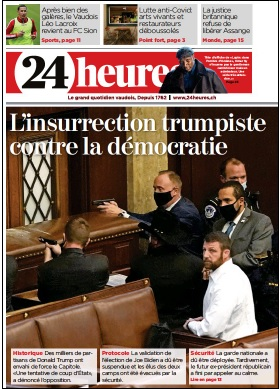 24 Heures, Switzerland Newspaper Front Page, January 7, 2021
