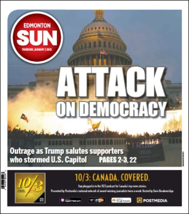 Edmonton Sun, Newspaper in Canada, Front Page January 7, 2021