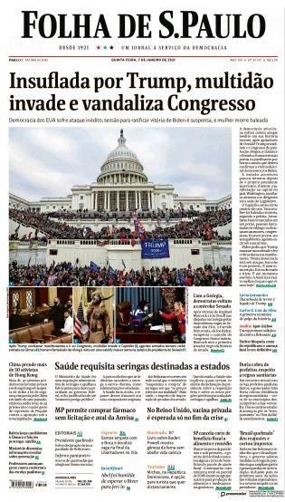 Folha De S.Paulo, Brazilian Newspaper Front Page, January 7, 2021