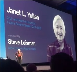 Janet Yellen Appears on Stage at the Schwab IMPACT Conference in Washington, D.C. in October 2018