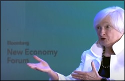 Janet Yellen, On Stage, at the 2018 Bloomberg New Economy Forum, November 6, 2018, Singapore