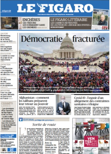 Le Figaro, French Newspaper Front Cover, January 7, 2021