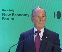 Michael Bloomberg Giving the Welcome Remarks at the Bloomberg New Economy Forum in Singapore on November 6, 2018