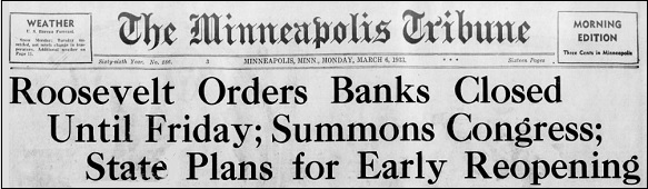March 6, 1933 Front Page Headline of the Minneapolis Tribune