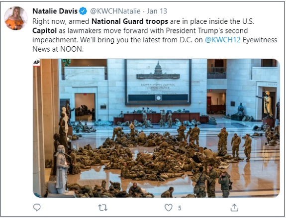 National Guard Troops Sleep on the Marble Floor of the Capitol Building as House Votes to Impeach President Donald Trump for Second Time, January 13, 2021