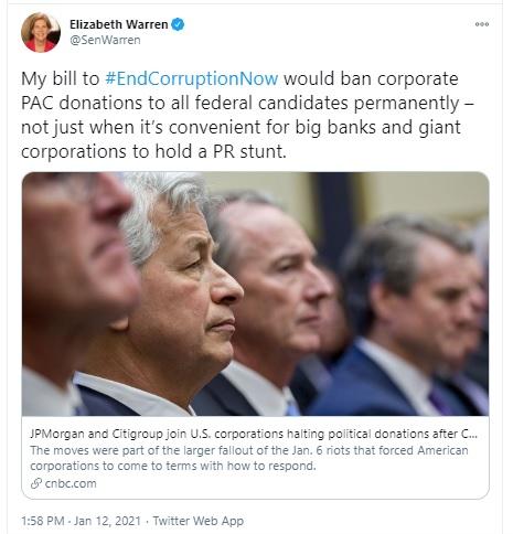 Tweet by Senator Elizabeth Warren on Federal Campaign Finance Reform, January 12, 2021