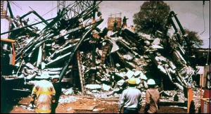 Debris from Collapse of L'Ambiance Plaza Apartment Building Where 28 Construction Workers Died in 1987